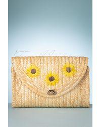 Collectif Clothing 70s Sunflower Straw Handbag - Meerkleurig