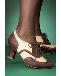 Bettie Page 50s Patricia Oxford Shoe Booties - Groen