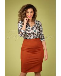 Collectif Clothing 50s Polly Textured Cotton Pencil Skirt - Oranje