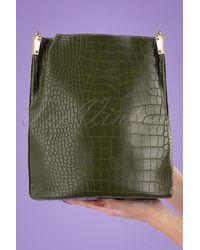 Louche 70s Gallio Croco Bucket Bag - Groen