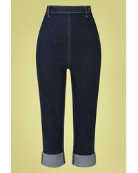 Collectif Clothing 50s Bambi Capri Jeans - Blauw