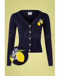 Banned Retro 50s Lemon Cardigan - Blauw