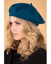 Collectif Clothing 60s Lauren Plain Beret - Blauw