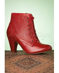 Miz Mooz 50s Channing Leather Ankle Booties - Rood