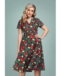 Collectif Clothing 50s Caterina Pomegranate Swing Dress - Meerkleurig
