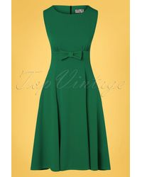 vintage chic for topvintage 50s Daborah Bow Swing Dress - Groen
