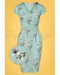 vintage chic for topvintage 50s Kristina Floral Pencil Dress - Blauw