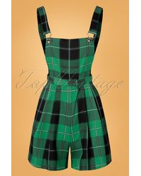 Collectif Clothing 50s Hani Foliage Check Playsuit - Groen