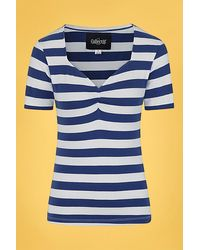 Collectif Clothing 50s Carina Striped T-shirt - Blauw