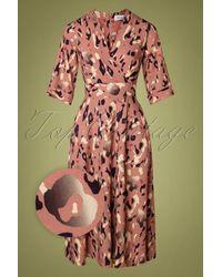 Closet 70s Maisie Leopard Wrap Dress - Roze