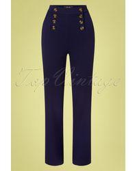 King Louie 60s Lara Sailor Broadway Pants - Blauw