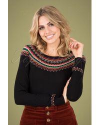 King Louie 60s Tignes Roundneck Sweater - Zwart