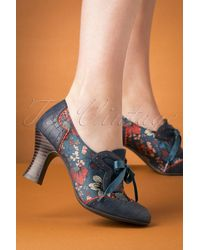 Ruby Shoo 40s Daisy Floral Booties - Blauw