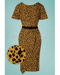 Miss Candyfloss 50s Filomena Mini Floral Wiggle Dress - Geel