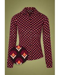 King Louie 60s Pose Blouse - Rood
