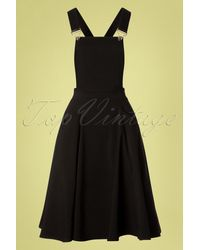 Collectif Clothing 50s Kayden Overalls Swing Dress - Zwart