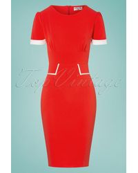vintage chic for topvintage 50s Patsy Pencil Dress - Rood