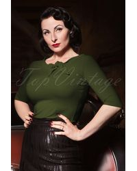 heart of haute 50s Lily Bow Top - Groen
