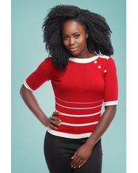 Collectif Clothing 50s Armanda Striped Jumper - Rood