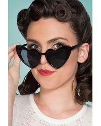 Banned Retro 50s Melba Heart Shaped Sunglasses - Zwart