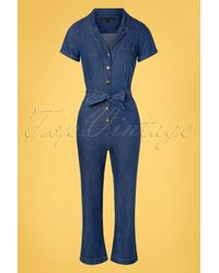 King Louie 70s Gracie Chambray Jumpsuit - Blauw