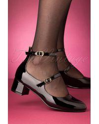 Lulu Hun 60s Federica Block Heel Pumps - Zwart