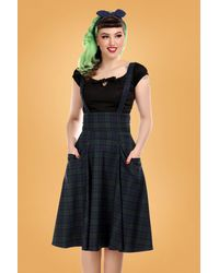 Collectif Clothing 50s Alexa Blackwatch Check Swing Skirt - Blauw