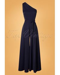 Collectif Clothing 50s Cindal Jumpsuit - Blauw