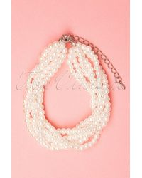 Collectif Clothing 30s Mona Twisted Pearl Bracelet - Wit