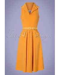 Miss Candyfloss 50s Annie Mae Swing Dress - Geel