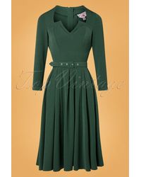 Miss Candyfloss Topvintage Exclusive ~ 50s Penny-lee Swing Dress - Groen