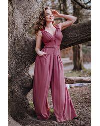 Miss Candyfloss 50s Zera Viola Jumpsuit - Meerkleurig