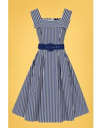 Collectif Clothing 50s Gemmi Striped Swing Dress - Blauw