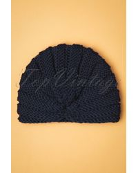 Collectif Clothing 70s Milla Knitted Turban - Blauw