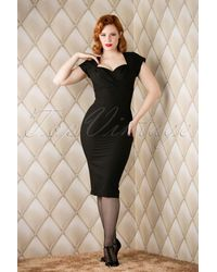 Stop Staring! 50s Thalia Pencil Dress - Zwart