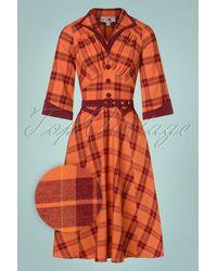 Miss Candyfloss Topvintage Exclusive ~ 50s Juniper Tartan Swing Dress - Oranje