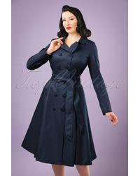 Collectif Clothing 40s Korrina Swing Trench Coat - Blauw