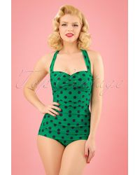 Esther Williams Swimwear 50s Classic Polkadot One Piece Swimsuit - Groen