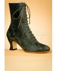 Miss L-fire 40s Frida Snake Lace Up Booties - Groen
