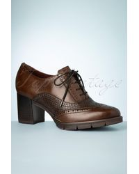 Tamaris 60s Spencer Leather Shoe Booties - Bruin