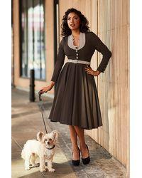 Miss Candyfloss 50s Tanah-dora Swing Dress - Bruin