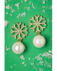 Collectif Clothing 50s Snowflake Pearl Studs - Groen
