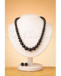 Collectif Clothing 50s Natalie Bead Necklace Set - Zwart