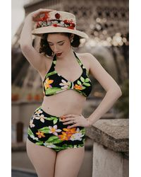 Esther Williams Swimwear 50s Classic Floral Bikini Pants - Meerkleurig