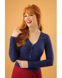 King Louie 40s Heart Ajour Cardigan - Blauw