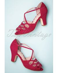 Miss L-fire 40s Adele Strappy Cross Over Sandals - Rood