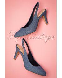 Tamaris 50s Tessy Slingback Pumps - Blauw