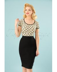 Collectif Clothing 50s Polly Bengaline Skirt - Zwart