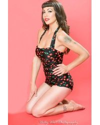 Esther Williams Swimwear 50s Classic Cherry One Piece Swimsuit - Zwart