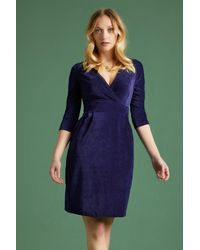 King Louie 60s Cross Tulip Rib Velours Dress - Blauw